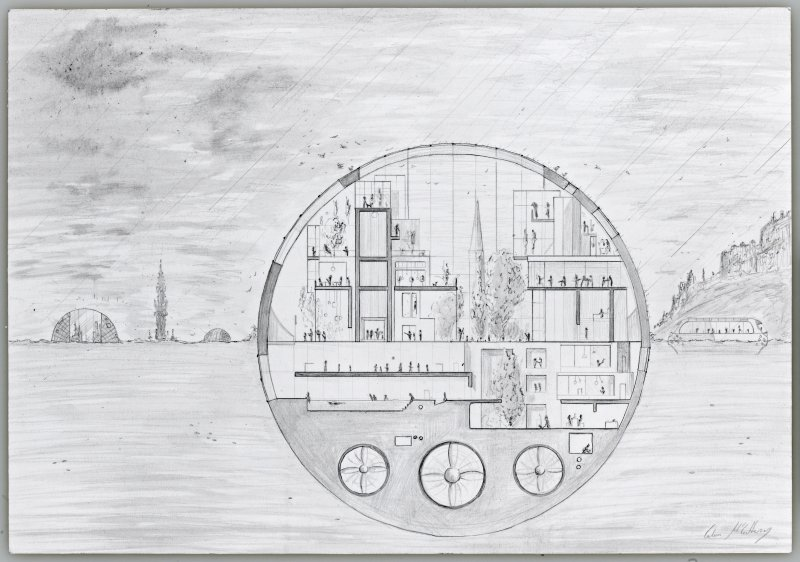 Esquisse showing a floating city of Edinburgh drawn by Calum Duncan McCafferty