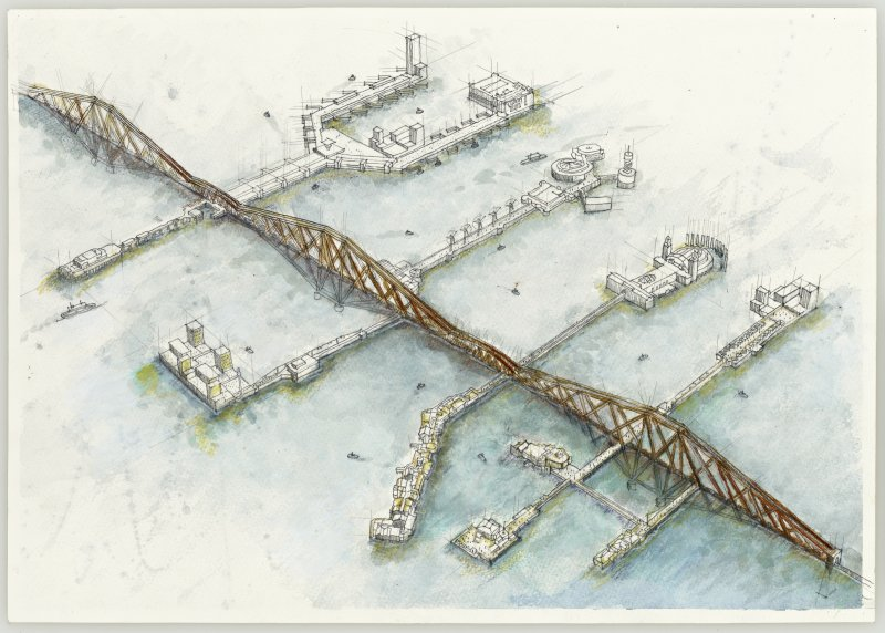 Esquisse showing floating piers off the Forth Rail Bridge drawn by Wynne McLeish