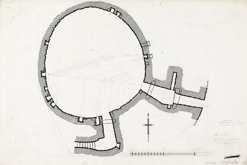Inked plan of interior: Torwood broch. Photographic copy of STD 42/4.
