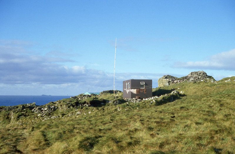 St Ronan's church and SMRU hut with tracker aerial, erected 17th Oct 1981.