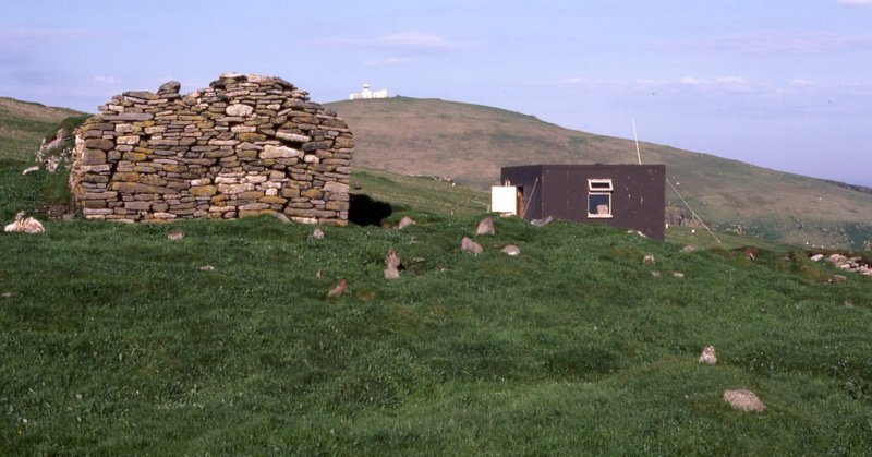 St Ronan's church, SMRU hut and lighthouse.