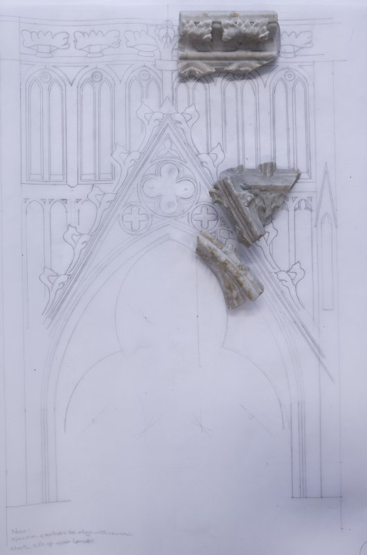 Layout of fragments on early version of reconstruction drawing of the tombchest canopy
