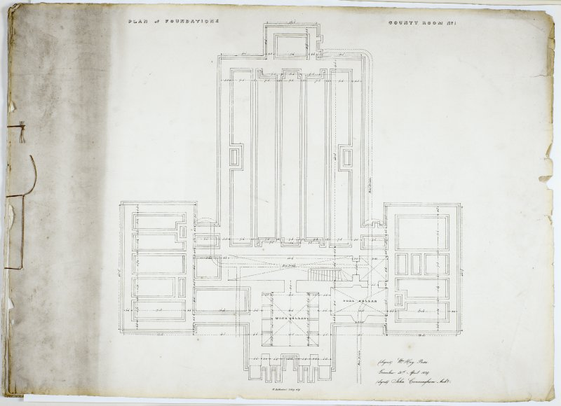 Plan of Foundations. County Room No. I. Lithograph copy of drawings by John Cunningham, Archt.