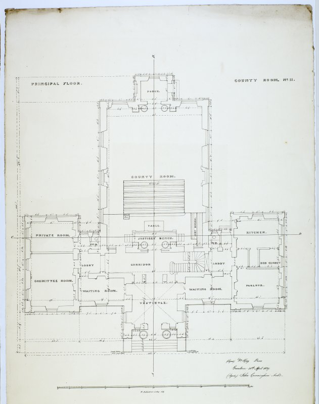 Plan of Principal Floor. County Room No. II (2) Lithograph copy of drawings by John Cunningham, Archt.