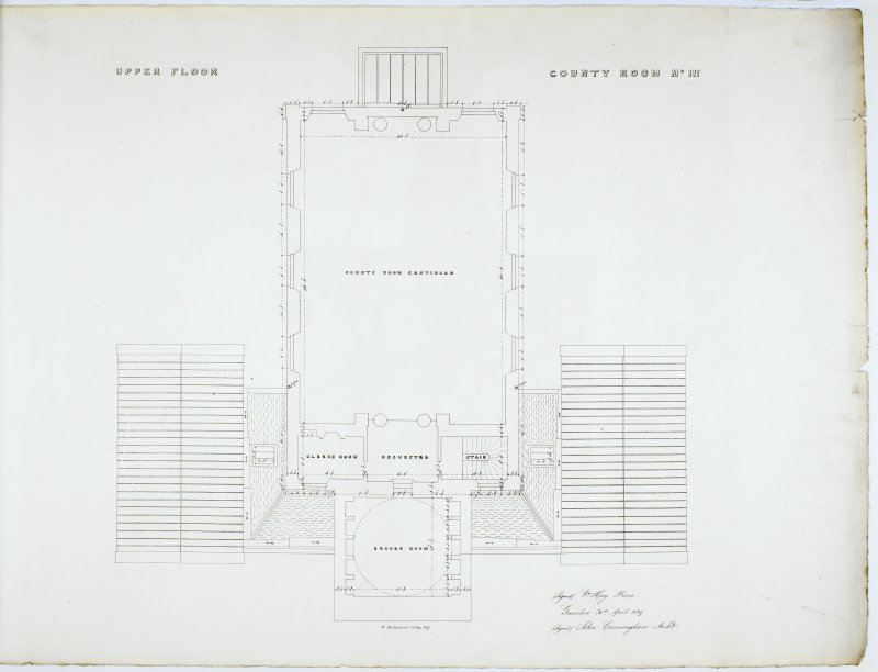 Plan of Upper Floor. County Room No. III. Lithograph copy of drawings by John Cunningham, Archt.