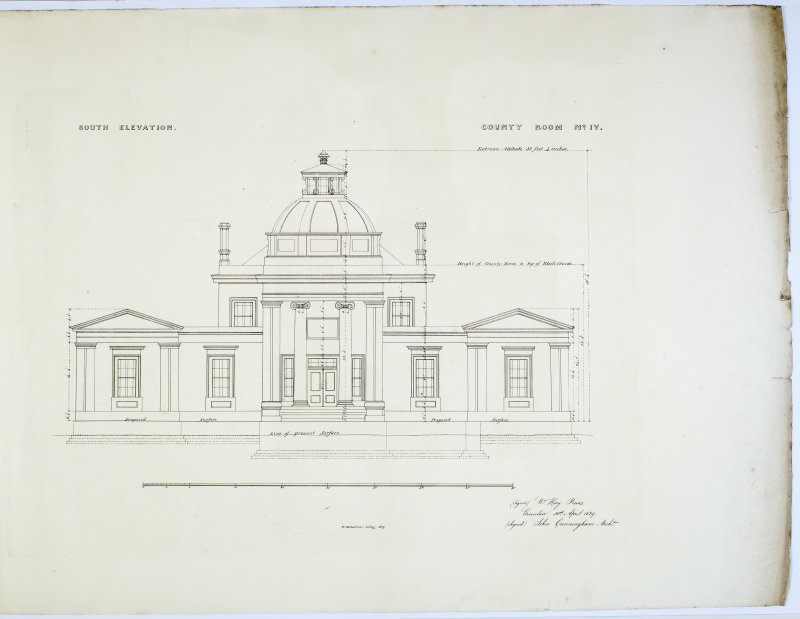 South Elevation. County Room No. IV. Lithograph copy of drawings by John Cunningham, Archt.