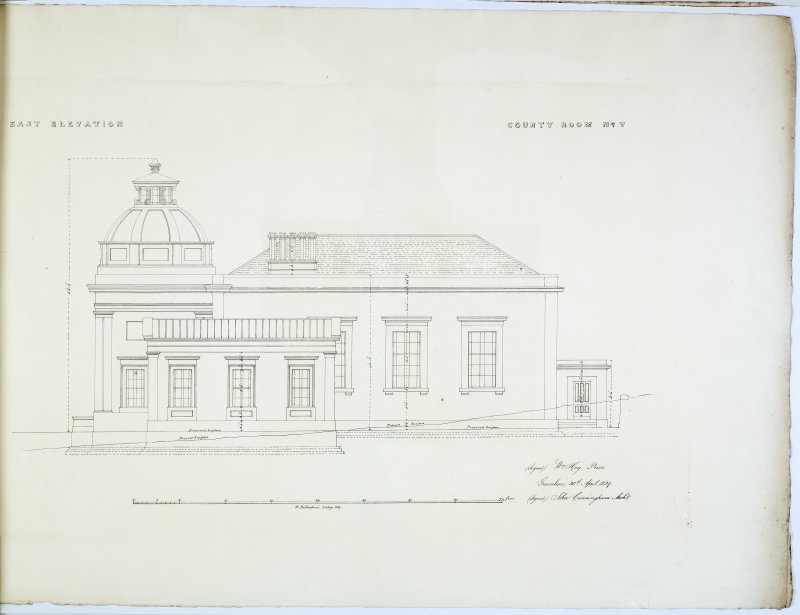 East Elevation. County Room No. V. Lithograph copy of drawings by John Cunningham, Archt.