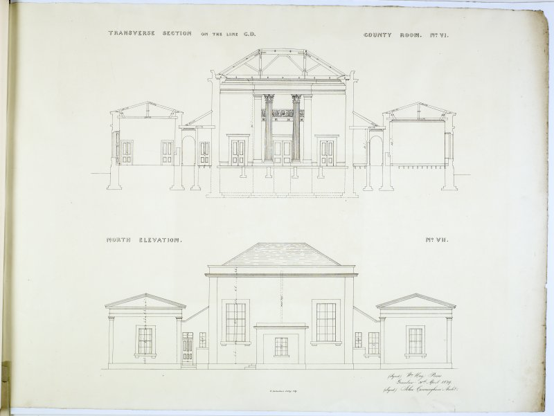 Transverse Section on the line CD and North Elevation. County Room No. VI and No. VII. Lithograph copy of drawings by John Cunningham, Archt.