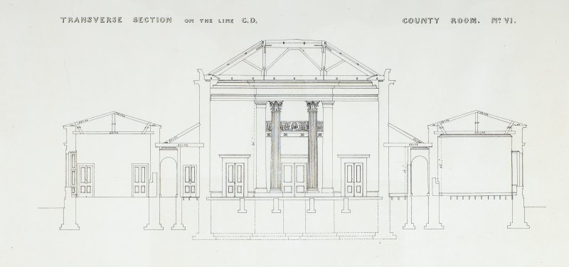 Transverse Section on the line CD. County Room No. VI. Lithograph copy of drawings by John Cunningham, Archt.
