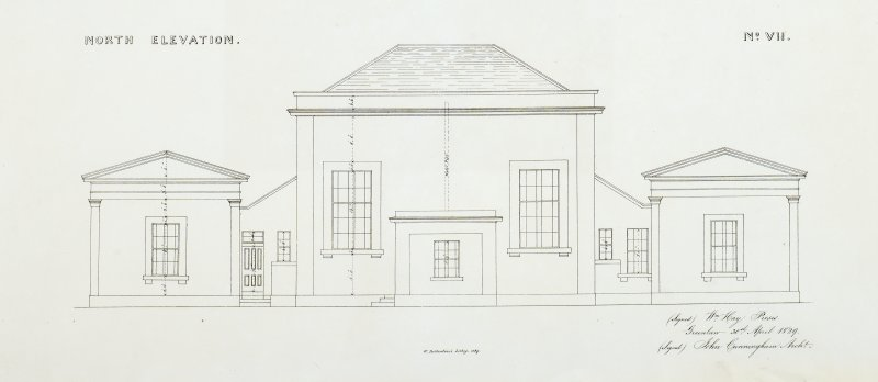 North Elevation. County Room No. VII. Lithograph copy of drawings by John Cunningham, Archt.