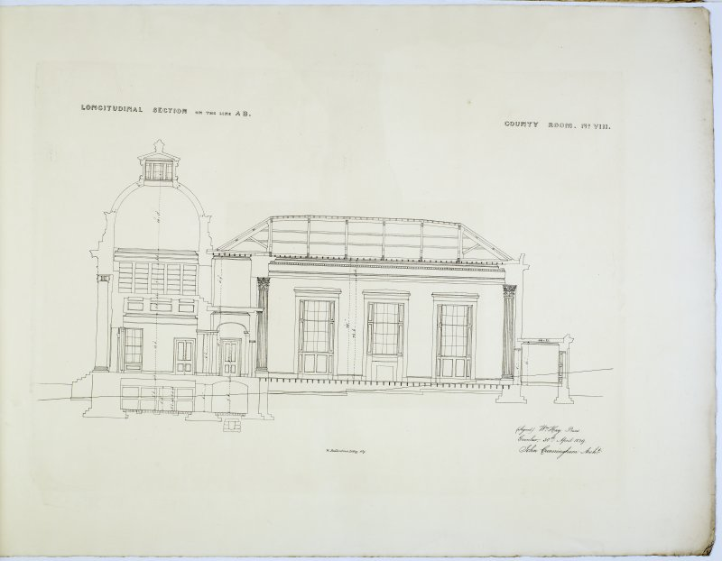 Longitudinal Section on the AB. County Room No. VIII. Lithograph copy of drawings by John Cunningham, Archt.