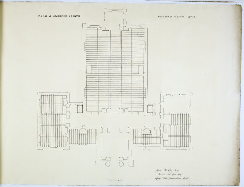 Plan of Sleeper Joists. County Room No. IX. Lithograph copy of drawings by John Cunningham, Archt.