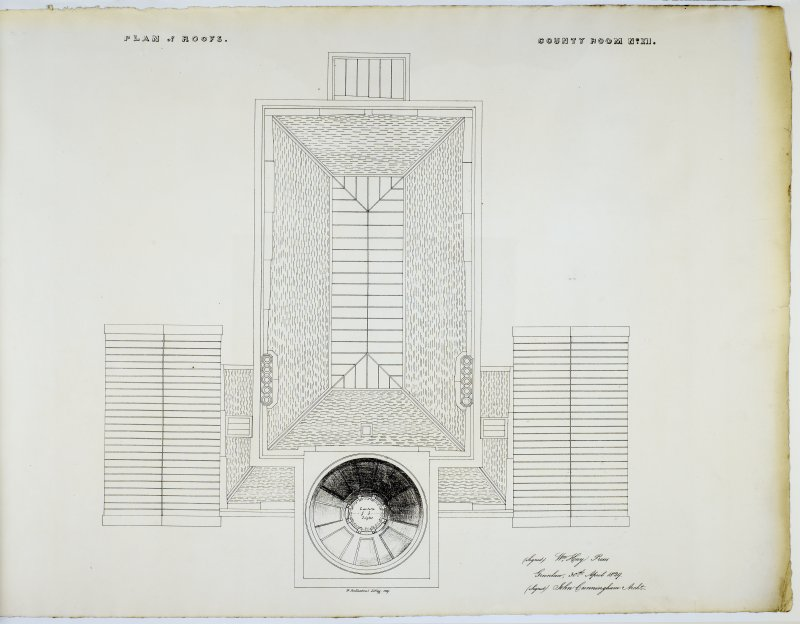 Plan of Roofs. County Room No. XII. Lithograph copy of drawings by John Cunningham, Archt.