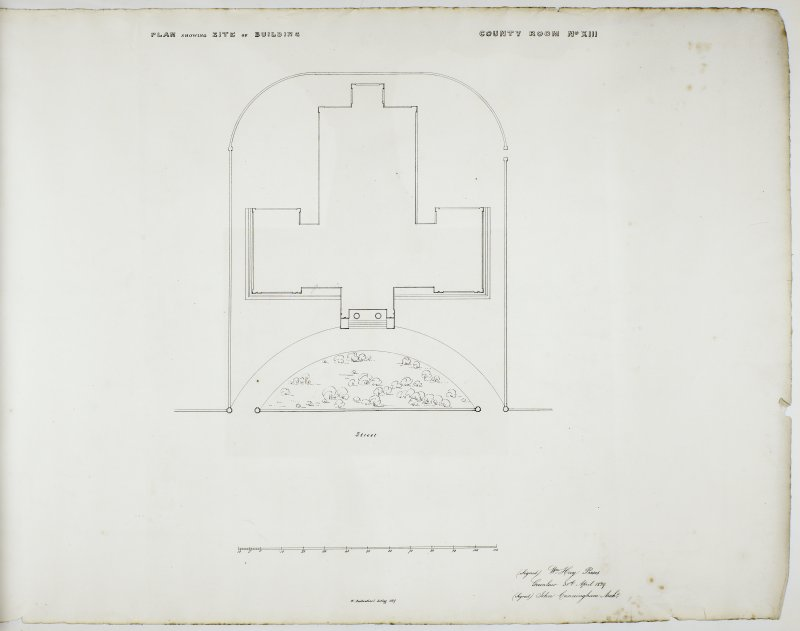 Plan showing Site of Building. County Room No. XIII. Lithograph copy of drawings by John Cunningham, Archt.