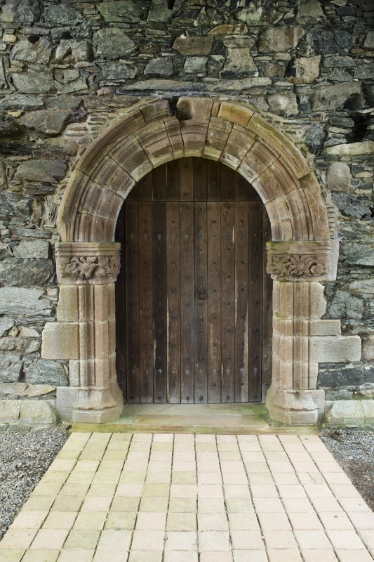 View of later chapter house door within east cloister range.