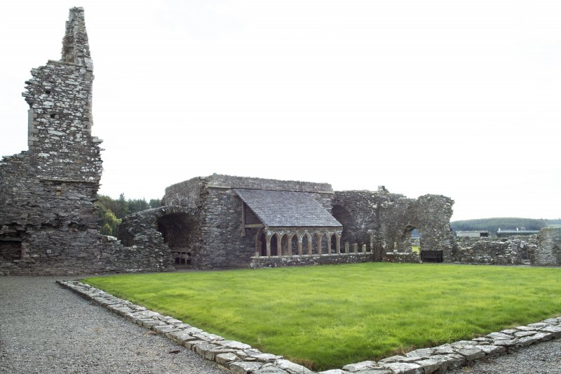 General view of cloister looking towards the remains of the east cloister range, taken from the north west corner.