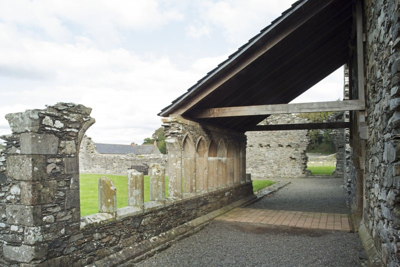 View looking along the east cloister wall, taken from the south