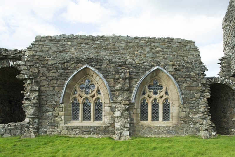 View of later, east windows of the chapter house taken from the east.