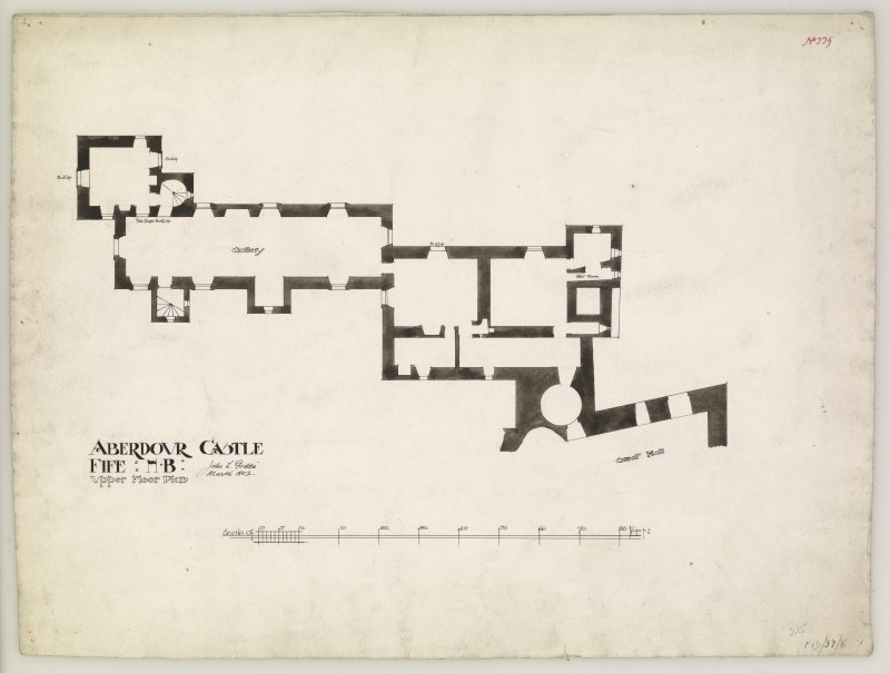 Upper floor plan of Aberdour Castle.