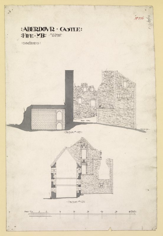 Longditudinal section through keep and transverse section through south block of Aberdour Castle.