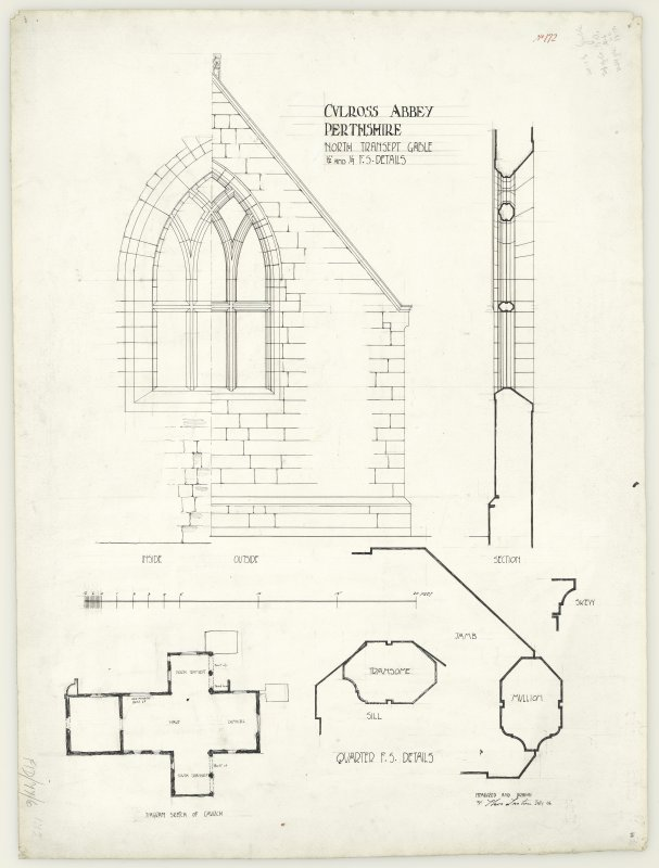 Diagram sketch plan of church; half interior and half exterior elevations and section of Culross Abbey.