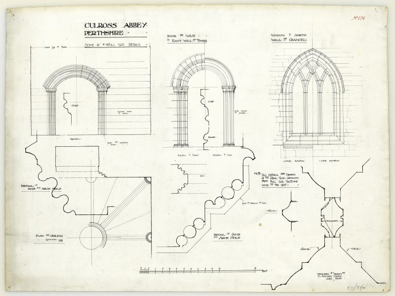 Elevations of recess in tower wall, door to nave in east wall of tower, window in north wall of chancel; plan of ceiling and details of jamb and arch mould, Culross Abbey.