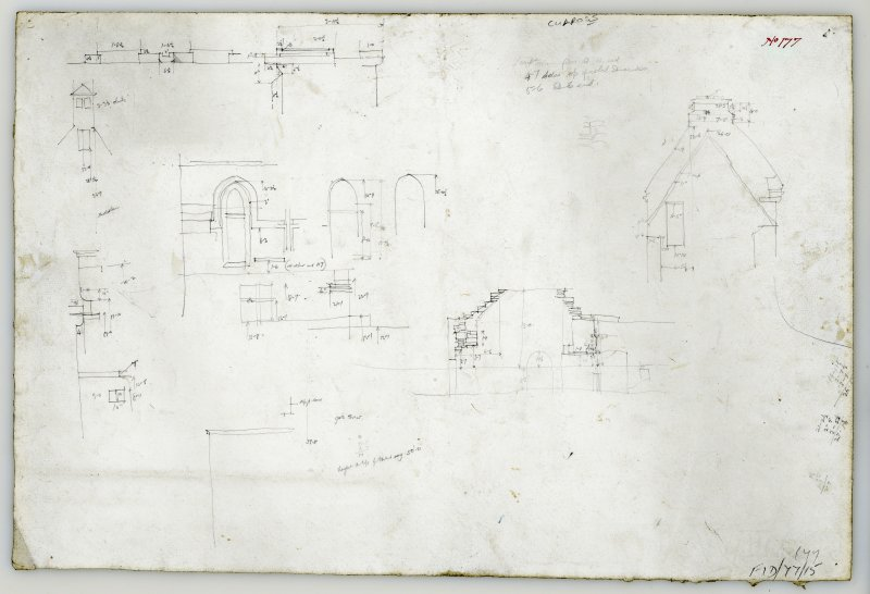 Sketches of Culross Abbey with measurements.