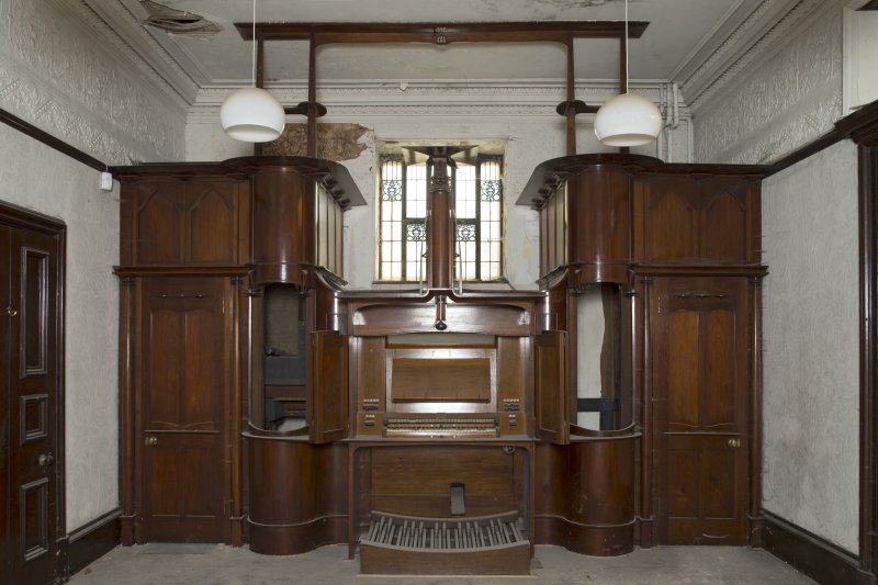 Ground floor, Music Room, view of Mackintosh organ with keyboard doors closed