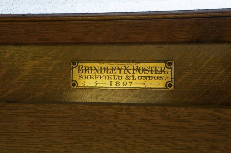 Ground floor,  Music Room, Mackintosh organ, detail of maker's nameplate 'Brindley & Foster, Sheffield & London 1897'