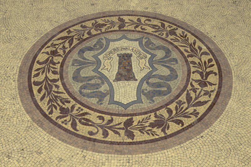 Ground floor, conservatory, detail of central motif on mosaic floor
