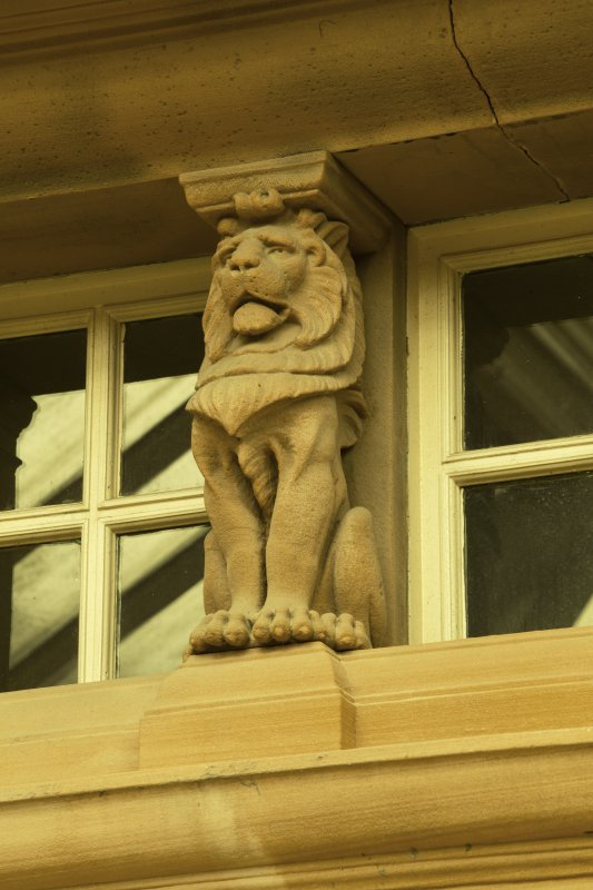 Ground floor, conservatory, detail of stone lion on north wall