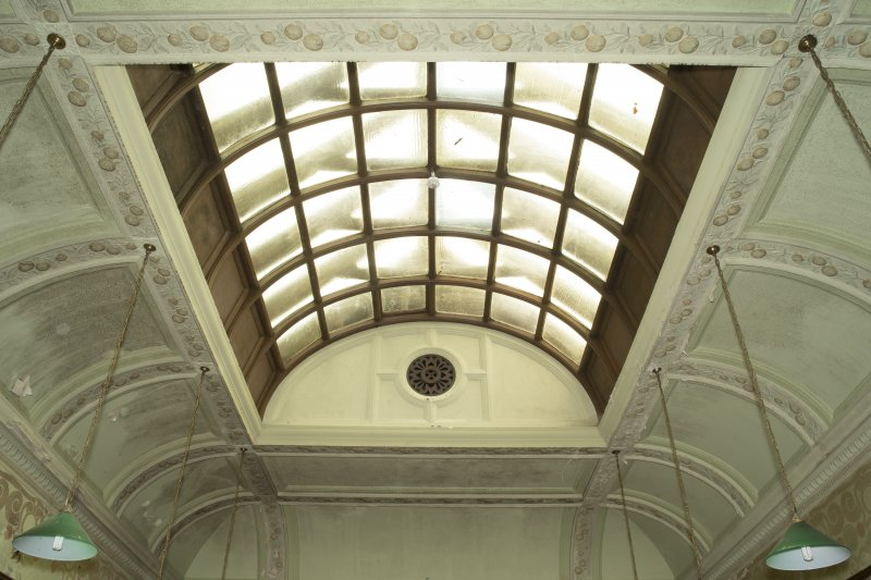 Ground floor, billiard room, view of ceiling with roof light