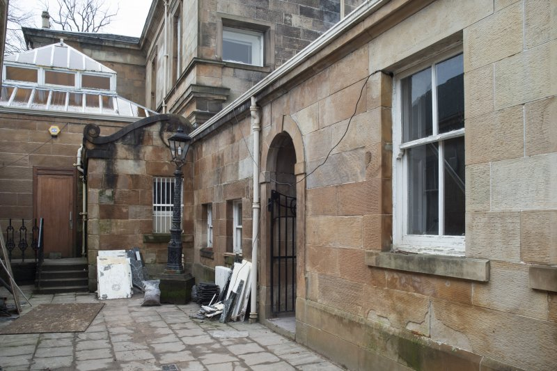 Rear courtyard and entrance to house, view from south east