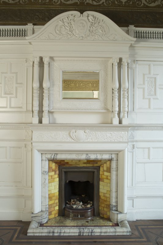 Ground floor,drawing room, view of fireplace on south wall