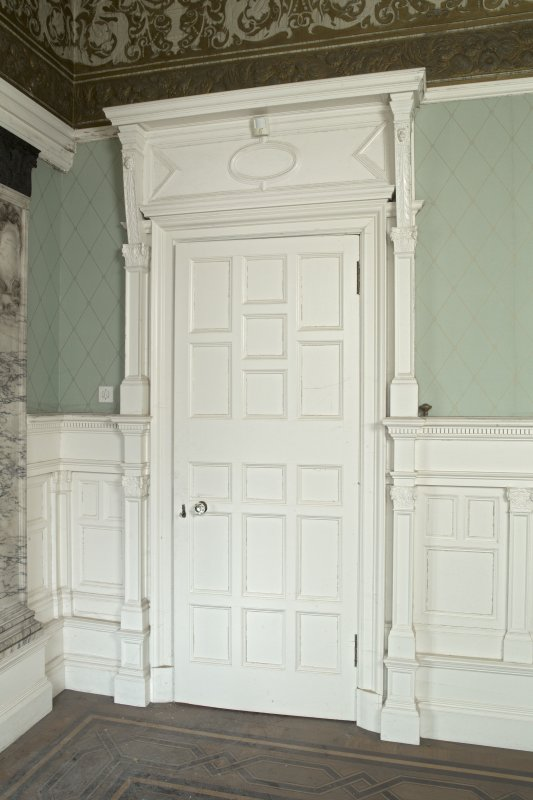 Ground floor, drawing room, door on east wall at south end