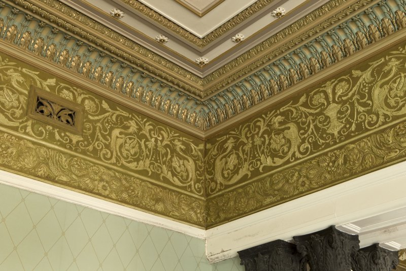 Ground floor, drawing room, detail of corner section of cornice