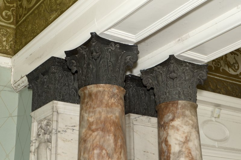 Ground floor, drawing room, detail of column capitals