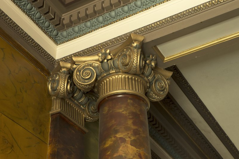 Ground floor, entrance hall, detail of column capital and cornice