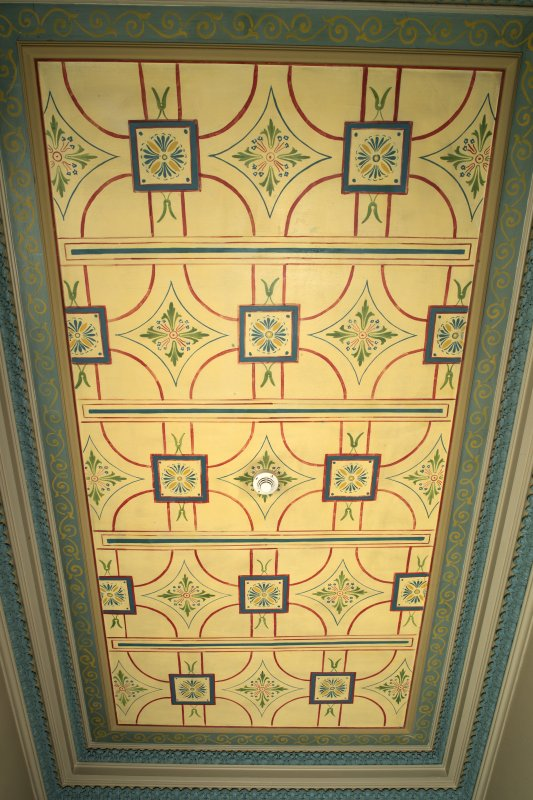 Ground floor, cloakroom, painted ceiling
