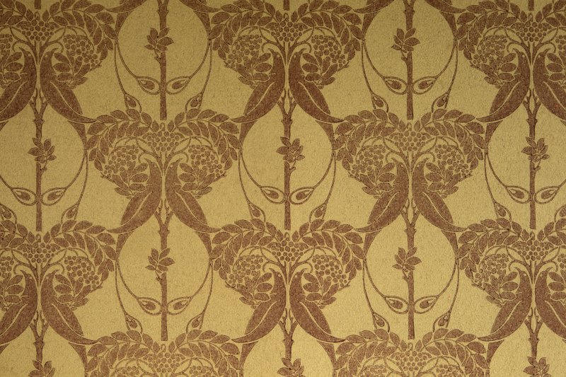 Ground floor, study, detail of wallpaper