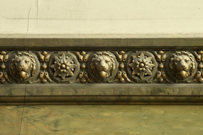 1st floor, staircase, detail of lions' heads decoration on dado