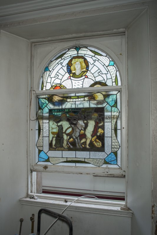 Ground floor, kitchen, stained glass window