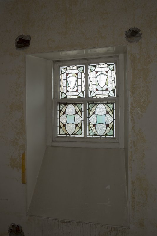 1st floor, servant's stair, stained glass window
