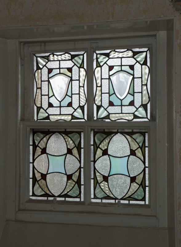 1st floor, servant's stair, detail of stained glass