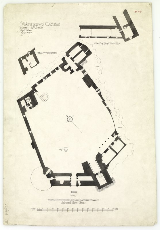 Plans of ground floor, over dungeon and part of first floor of St Andrews Castle.