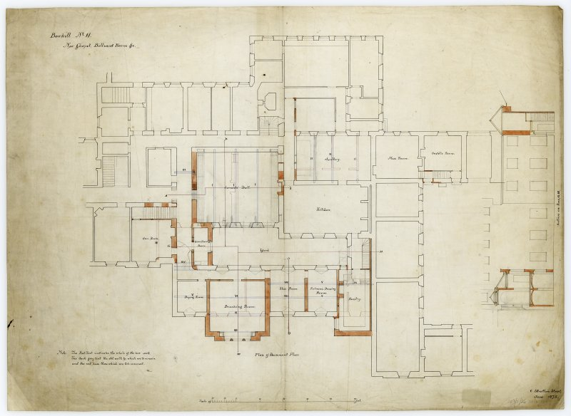 Plans of billiard room, chapel and basement.