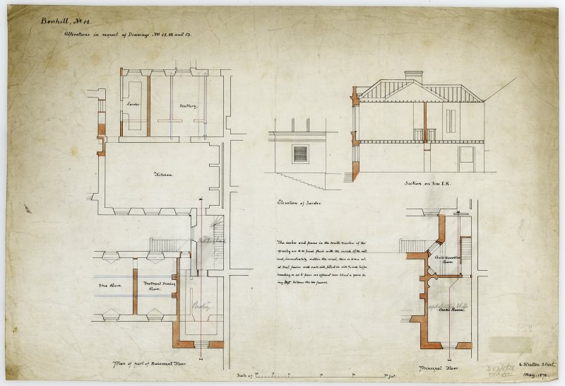 Plan and section of kitchen offices with alterations.