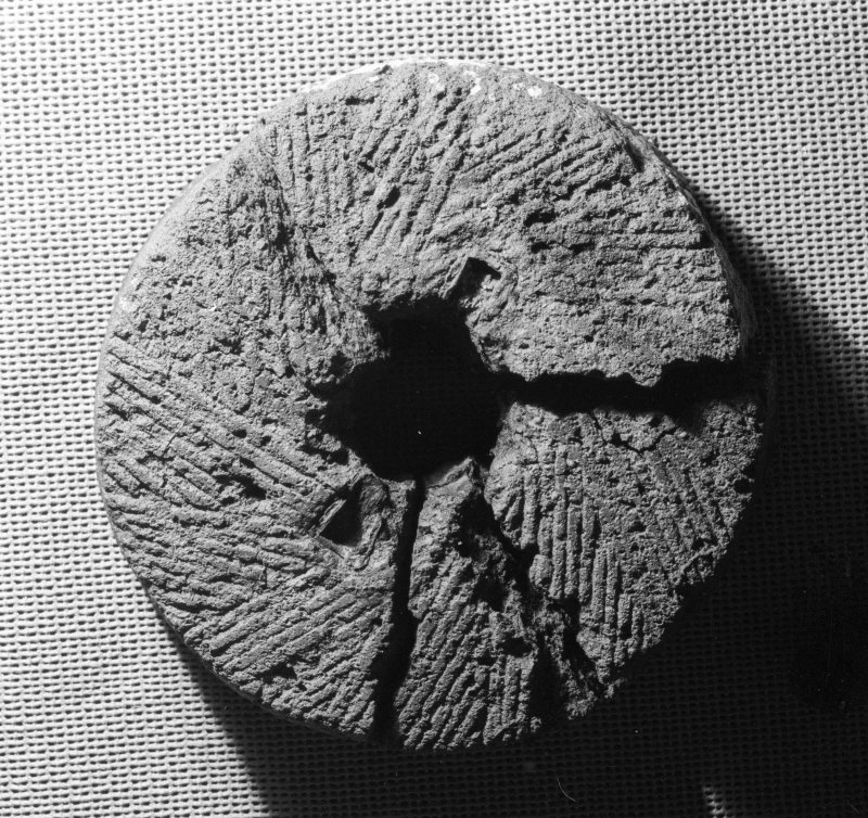 The upper stone of a hand-mill or quern (DP02/003a), showing its grinding face. Diameter 316mm. (Colin Martin)