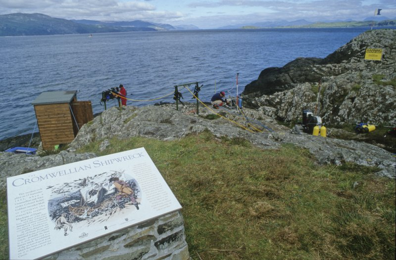 The shore base as visitors see it, viewed from the information plaque. (Colin Martin)
