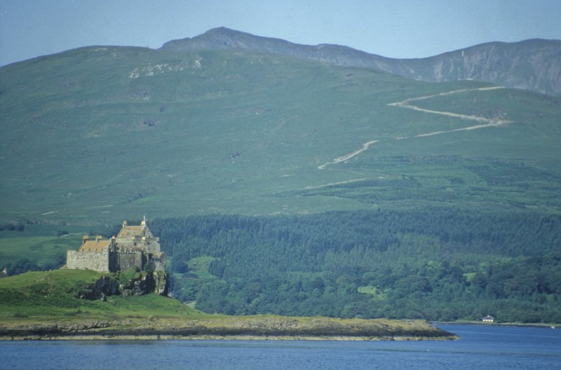Duart Castle from the sea, looking west. Duart Point lies just beyond the visible headland on the right. (Colin Martin)